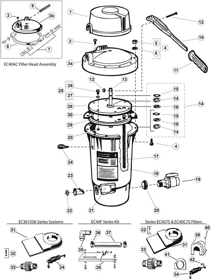 Hayward Perflex Extended Cycle De Filter Ec30 Amp Ec40 Series