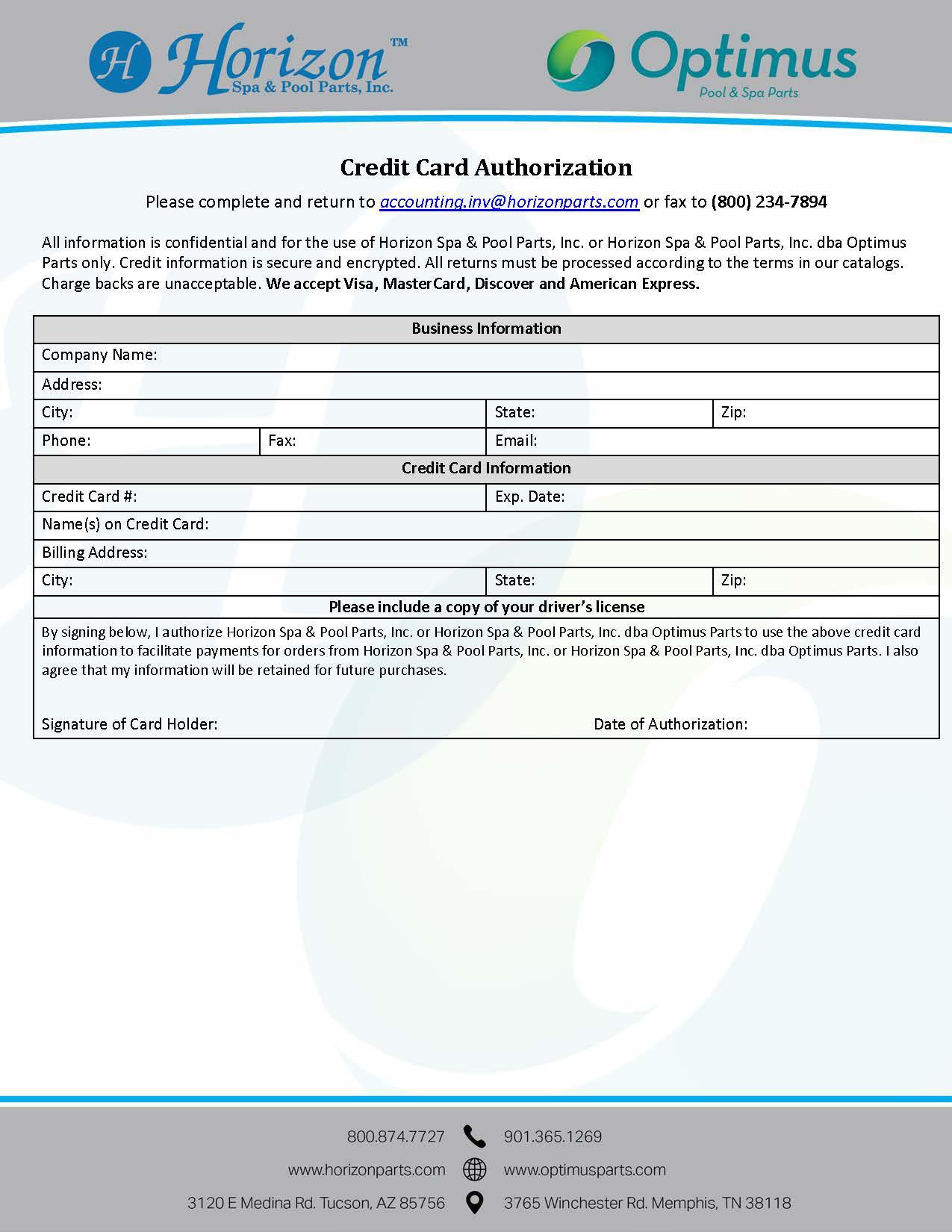 horizon spa pool parts inc credit card authorization form